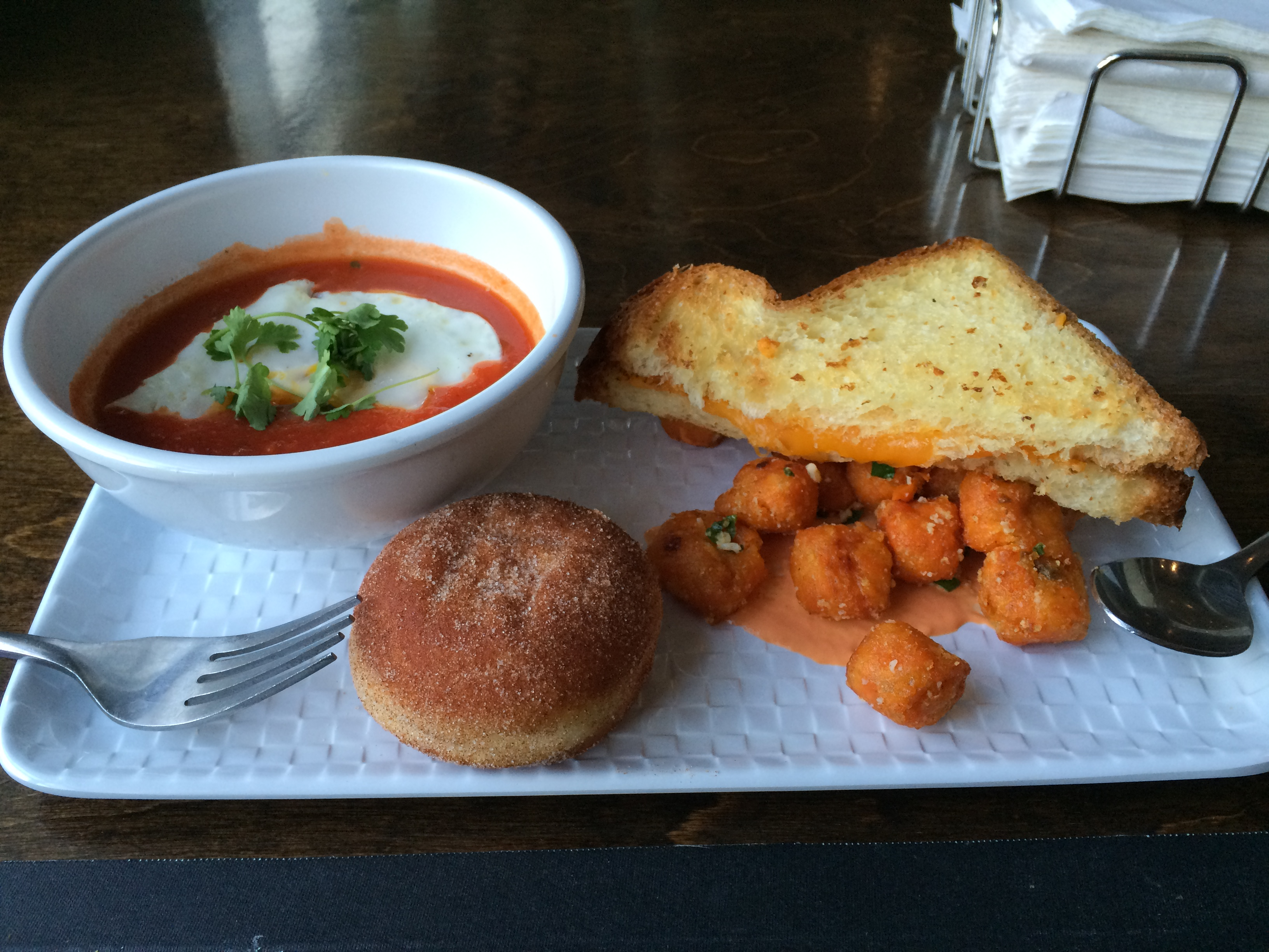 Grilled cheese with tomato soup and sweet potato tots